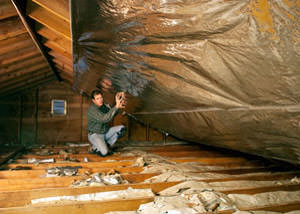 A radiant barrier installed in a Bismarck attic
